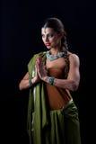 在黑色的印地安女孩跳舞 图库摄影