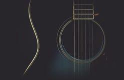 在黑色的吉他与表面无光泽的减速火箭的神色 免版税库存图片