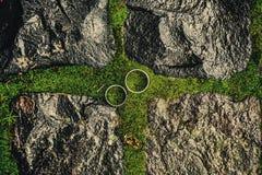 在绿色的婚礼圆环 免版税图库摄影