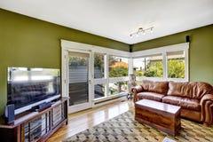 在绿色的家内部与富有的皮革长沙发 库存图片