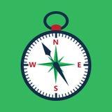 在绿色的平的指南针 免版税库存图片