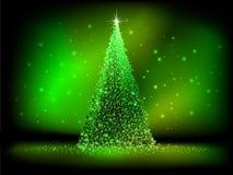 在绿色的抽象金黄圣诞树。EPS 10 免版税库存照片