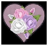 在黑色的桃红色罗斯心脏 图库摄影