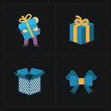 在黑色的礼物平展五颜六色的商店象 免版税库存图片