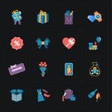 在黑色的礼物平展五颜六色的商店象 免版税图库摄影