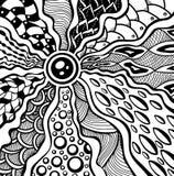 在黑色的禅宗缠结或禅宗乱画抽象纹理背景在白色 向量例证