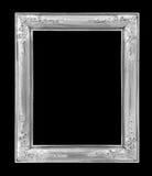 在黑色的老古色古香的银色框架 免版税库存照片