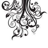 在黑色的花、叶子和漩涡剪影 免版税库存照片