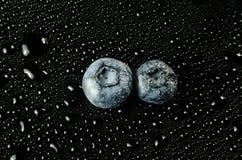 在黑色的蓝莓 免版税库存照片