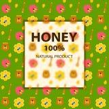 在绿色的蜂蜜和蜂横幅 免版税库存照片