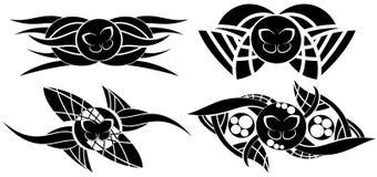 在黑色的装饰的蝴蝶纹身花刺 库存图片