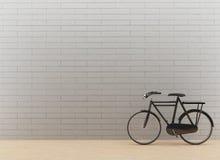 在黑色的经典自行车在3D翻译 库存图片