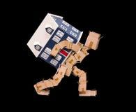 在黑色的移动的房子概念 免版税库存照片