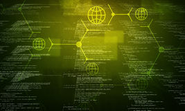在黑色的绿色二进制编码 免版税库存图片