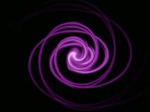 在黑色的紫色螺旋 库存照片