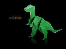在黑色的Origami恐龙 免版税库存照片