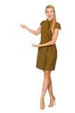 在绿色礼服的高白种人模型 免版税库存照片