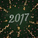 在绿色粉笔板的新年2017年 手图画样式 免版税图库摄影