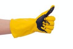 在黄色肮脏的手 图库摄影