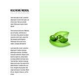 在绿色背景、传染媒介背景小册子的,飞行物或者横幅隔绝的药片 图库摄影