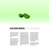 在绿色背景、传染媒介背景小册子的,飞行物或者横幅隔绝的药片 免版税库存图片