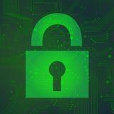 在绿色背景传染媒介的挂锁电路 免版税库存图片