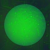 在绿色背景传染媒介的球形电路 免版税图库摄影