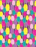 在紫色背景无缝的传染媒介样式的五颜六色的郁金香 库存照片