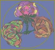 在紫色背景的三传染媒介花 库存图片