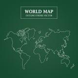 在绿色背景的世界地图白色概述冲程 库存例证