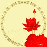 在黄色背景的东方莲花 图库摄影