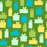 在绿色背景的传染媒介无缝的礼物样式 库存图片