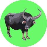在绿色背景的传染媒介水牛 免版税图库摄影