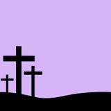 在紫色背景的基督徒十字架 免版税库存照片