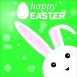 在绿色背景的愉快的复活节兔子兔宝宝 传染媒介illustrati 免版税库存照片