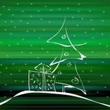 在绿色背景的抽象圣诞树 库存图片