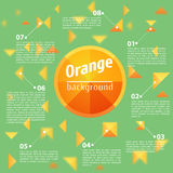 在绿色背景的抽象橙色正方形 库存照片