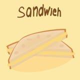 在黄色背景的新近地被烘烤的三明治 库存图片