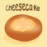 在黄色背景的新近地被烘烤的乳酪蛋糕 库存图片