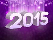 在紫色背景的新年文本2015年 免版税库存照片
