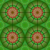 在绿色背景的无缝的圆的样式 免版税图库摄影
