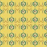 在黄色背景的无缝的抽象眼孔图样 免版税库存照片