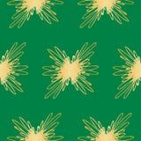 在绿色背景的无缝的抽象金黄花卉样式 专属装饰适用于纺织品,织品和包装 免版税图库摄影