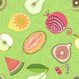 在绿色背景的无缝的果子样式与装饰品 也corel凹道例证向量 免版税图库摄影