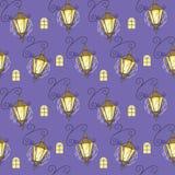 在紫色背景的无缝的纹理灯笼 图库摄影