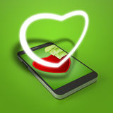 在绿色背景的白色心脏 图库摄影