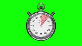 在绿色背景的秒表 库存例证