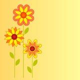 在黄色背景的花例证 免版税图库摄影