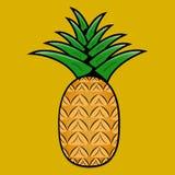 在黄色背景的菠萝 免版税库存图片