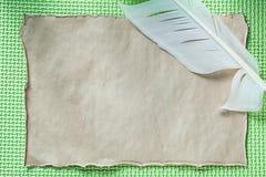 在绿色背景的葡萄酒纸羽毛 库存图片